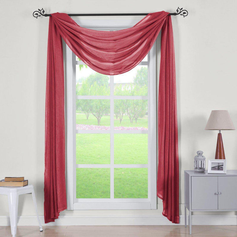 "Abri Rod Pocket Crushed Sheer Curtain Panel (Single)-Royal Tradition-50 x 216"" Scarf-Burgundy-Egyptian Linens"