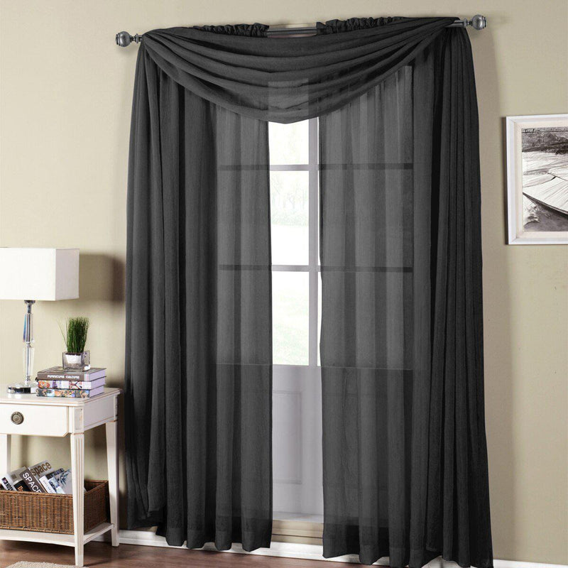 "Abri Rod Pocket Crushed Sheer Curtain Panel (Single)-Royal Tradition-50 x 108"" Panel-Black-Egyptian Linens"