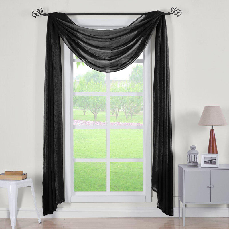 "Abri Rod Pocket Crushed Sheer Curtain Panel (Single)-Royal Tradition-50 x 216"" Scarf-Black-Egyptian Linens"