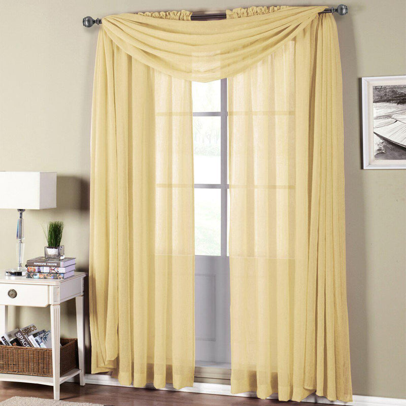 "Abri Rod Pocket Crushed Sheer Curtain Panel (Single)-Royal Tradition-50 x 108"" Panel-Gold-Egyptian Linens"