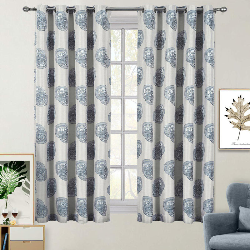 "Lafayette Modern Abstract Jacquard Curtain Panels With Grommets ( Set of 2 Panels )-Royal Tradition-108 x 63"" Pair-Gray-Egyptian Linens"