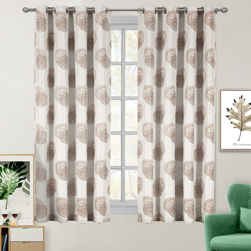 "Lafayette Modern Abstract Jacquard Curtain Panels With Grommets ( Set of 2 Panels )-Royal Tradition-108 x 96"" Pair-Brown-Egyptian Linens"