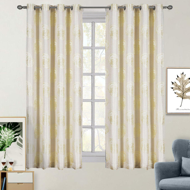 "Lafayette Modern Abstract Jacquard Curtain Panels With Grommets ( Set of 2 Panels )-Royal Tradition-108 x 84"" Pair-Light Yellow-Egyptian Linens"
