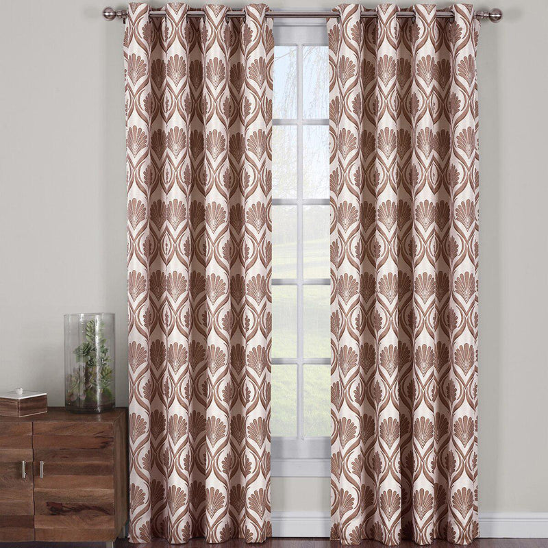"Modern Jacqueline Jacquard Drapes Grommet Top (Set of 2 Panels)-Royal Tradition-108 x 63"" Pair-Chocolate-Egyptian Linens"