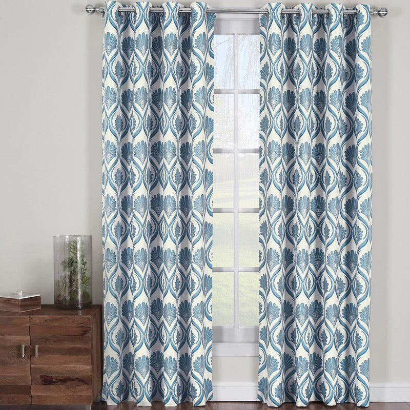 "Modern Jacqueline Jacquard Drapes Grommet Top (Set of 2 Panels)-Royal Tradition-108 x 63"" Pair-Marine-Egyptian Linens"