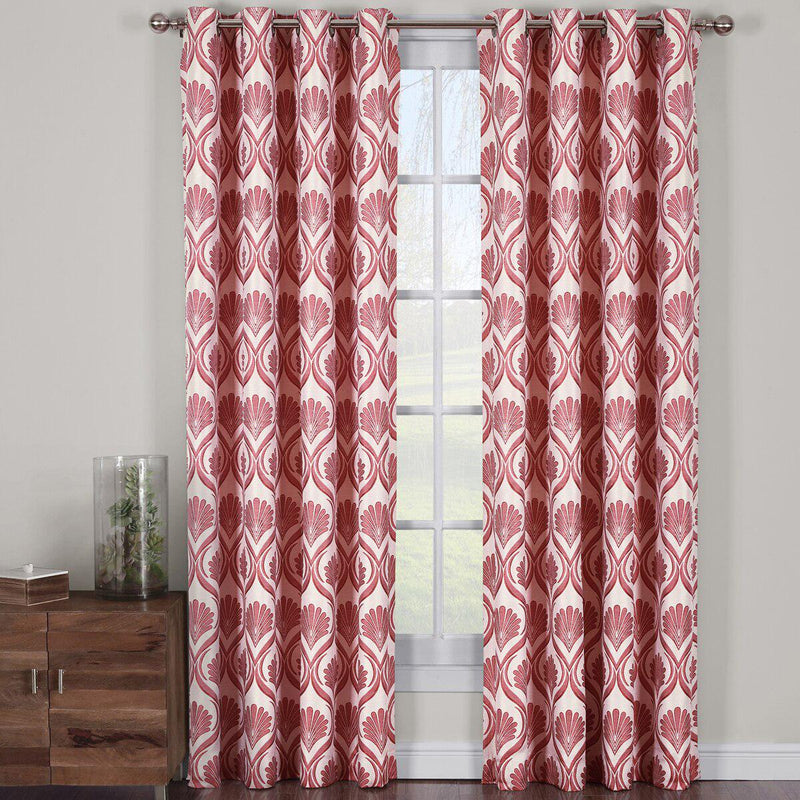 "Modern Jacqueline Jacquard Drapes Grommet Top (Set of 2 Panels)-Royal Tradition-108 x 63"" Pair-Poppy-Egyptian Linens"