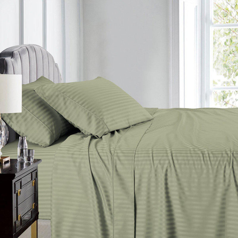 Olympic Queen Size Sheet Set - Striped 600 Thread Count-Royal Tradition-Sage-Egyptian Linens