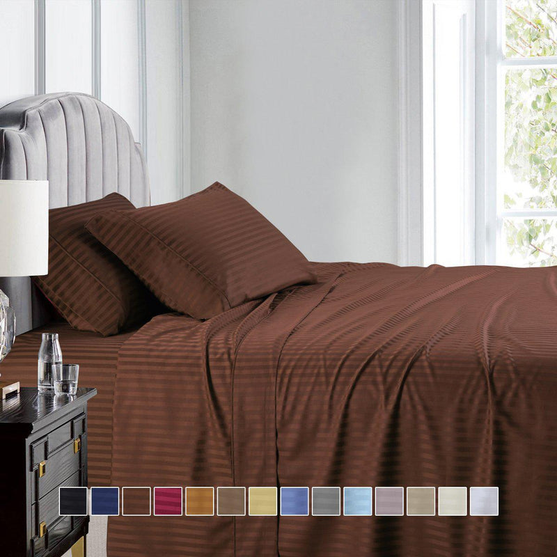 Olympic Queen Size Sheet Set - Striped 600 Thread Count-Royal Tradition-Egyptian Linens