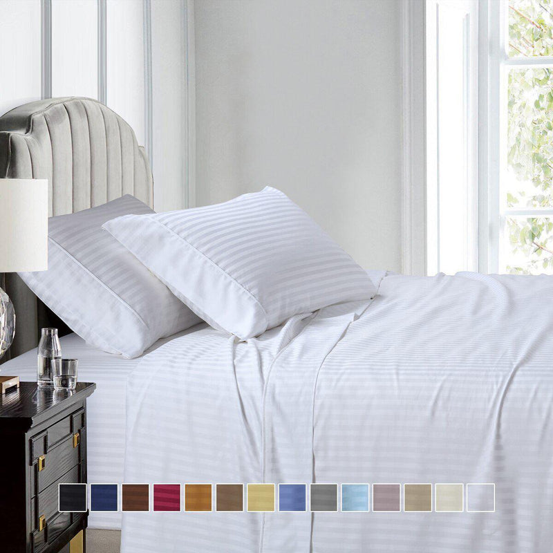 Top Split (Flex) King Sheet Set Luxury 608 Thread Count Damask Stripe-Egyptian Linens-Egyptian Linens