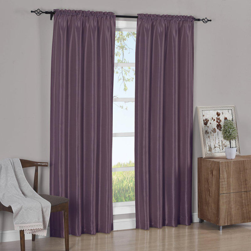 Pair Curtain Panels Soho Faux Silk (Set of 2)-Royal Tradition-63 Inch Long-Purple-Egyptian Linens