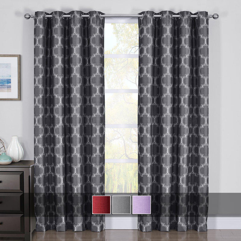 100% Blackout Curtain Panels Alana - Woven Jacquard Triple Pass Thermal Insulated (Set of 2 Panels)-Royal Tradition-Egyptian Linens