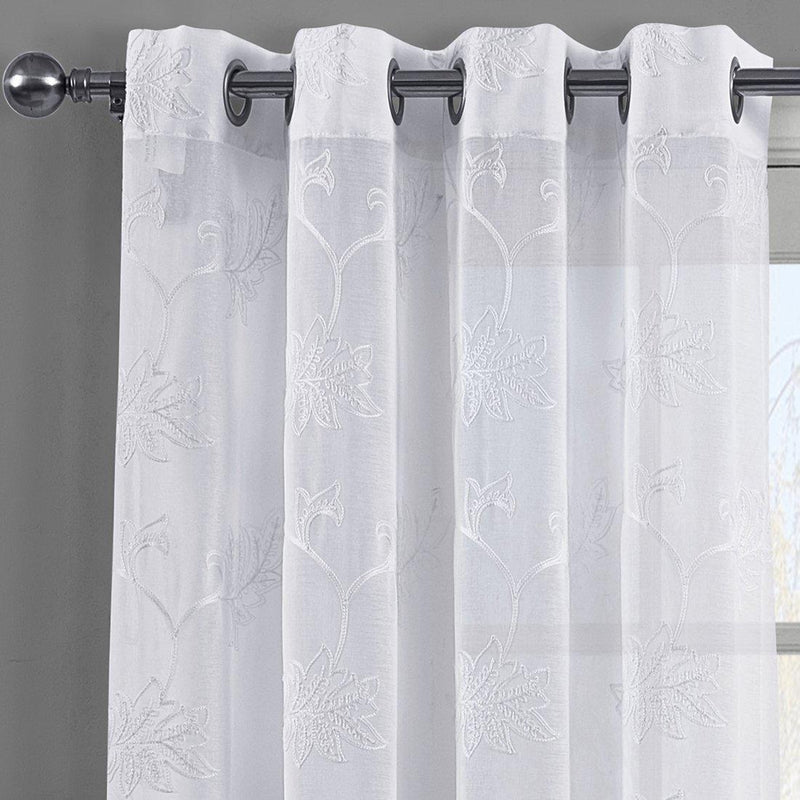 Andora Embroidered Grommet Top Sheer Panel Curtain Pair (Set of 2 )-Royal Tradition-Egyptian Linens