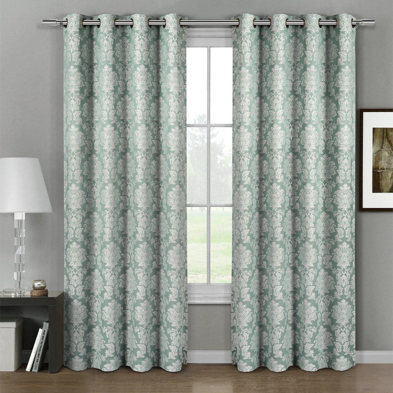 "Aryanna Classic Damask Floral Curtains Jacquard Grommet Panels (Set of 2)-Royal Tradition-54 x 63"" Pair-Aqua-Egyptian Linens"