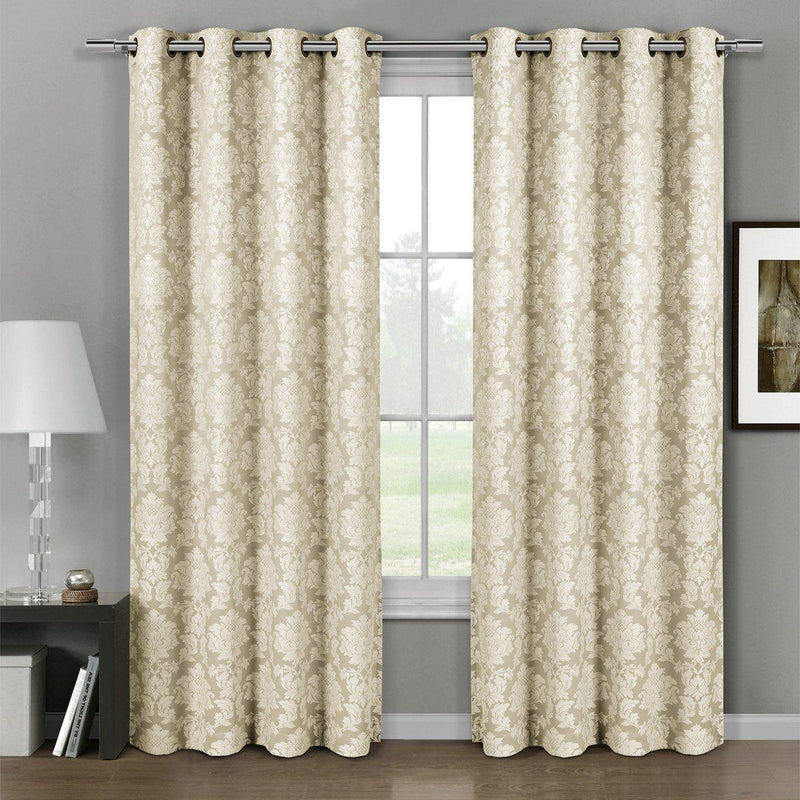 "Aryanna Classic Damask Floral Curtains Jacquard Grommet Panels (Set of 2)-Royal Tradition-54 x 63"" Pair-Beige-Egyptian Linens"