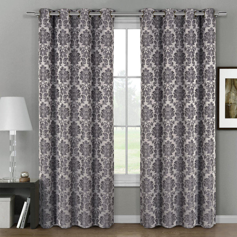 "Aryanna Classic Damask Floral Curtains Jacquard Grommet Panels (Set of 2)-Royal Tradition-54 x 63"" Pair-Gray-Egyptian Linens"