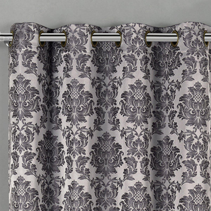 Aryanna Classic Damask Floral Curtains Jacquard Grommet Panels (Set of 2)-Royal Tradition-Egyptian Linens