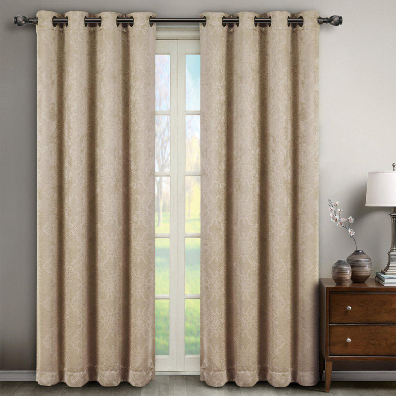 "Bella Blackout Weave Paisley Grommet Curtain Panels (Set of 2)-Royal Tradition-104 x 63"" Pair-Beige-Egyptian Linens"