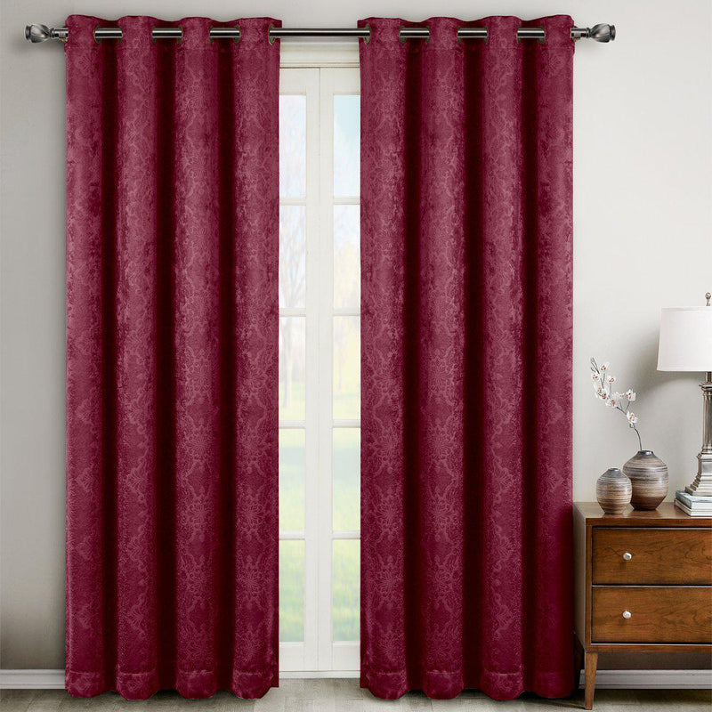 "Bella Blackout Weave Paisley Grommet Curtain Panels (Set of 2)-Royal Tradition-104 x 63"" Pair-Burgundy-Egyptian Linens"