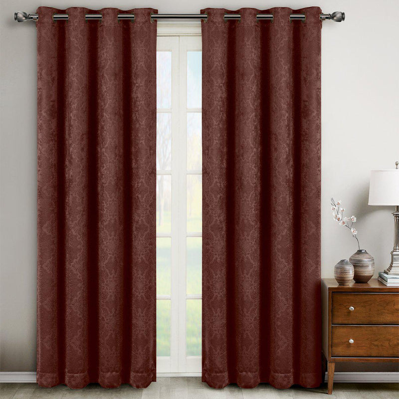 "Bella Blackout Weave Paisley Grommet Curtain Panels (Set of 2)-Royal Tradition-104 x 63"" Pair-Chocolate-Egyptian Linens"