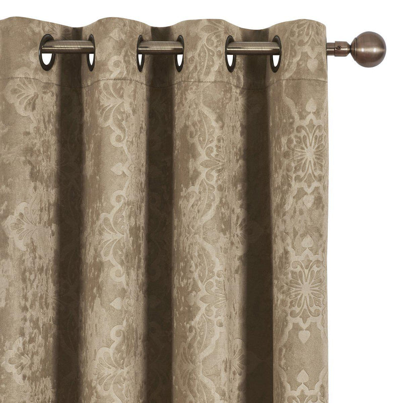 Bella Blackout Weave Paisley Grommet Curtain Panels (Set of 2)-Royal Tradition-Egyptian Linens
