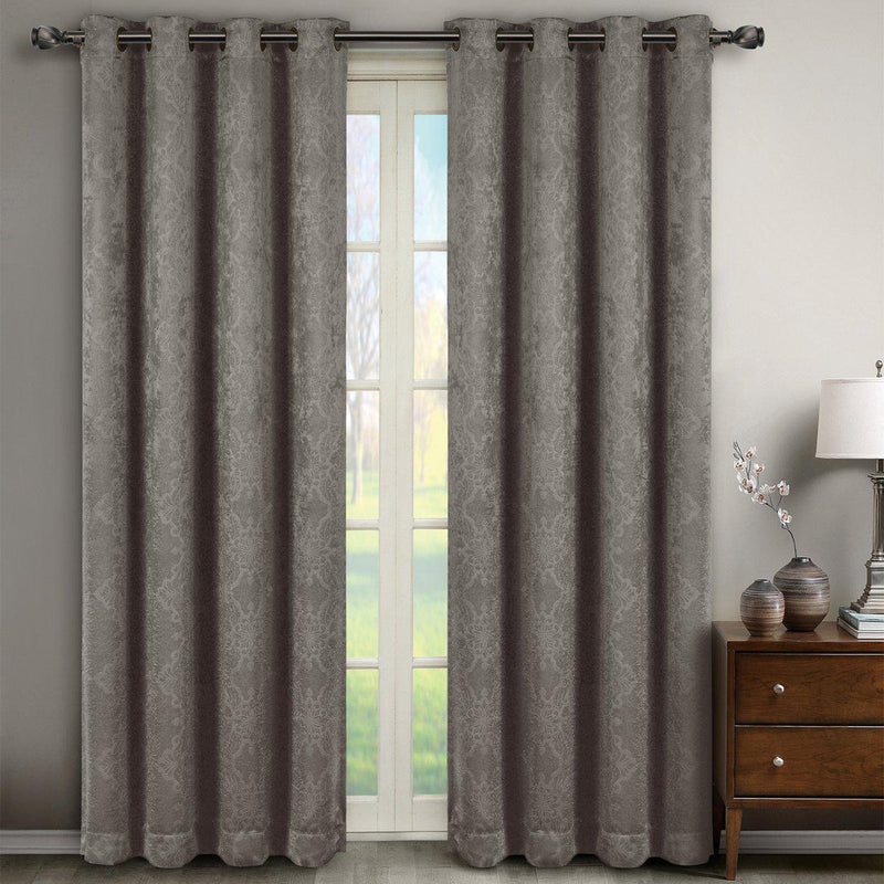 "Bella Blackout Weave Paisley Grommet Curtain Panels (Set of 2)-Royal Tradition-104 x 63"" Pair-Grey-Egyptian Linens"