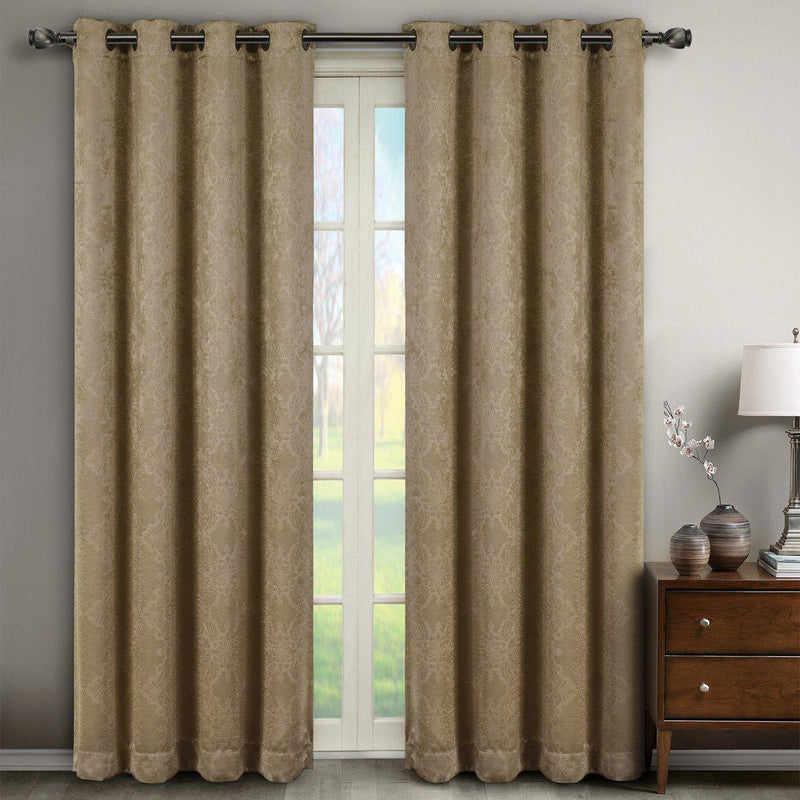 "Bella Blackout Weave Paisley Grommet Curtain Panels (Set of 2)-Royal Tradition-104 x 63"" Pair-Taupe-Egyptian Linens"
