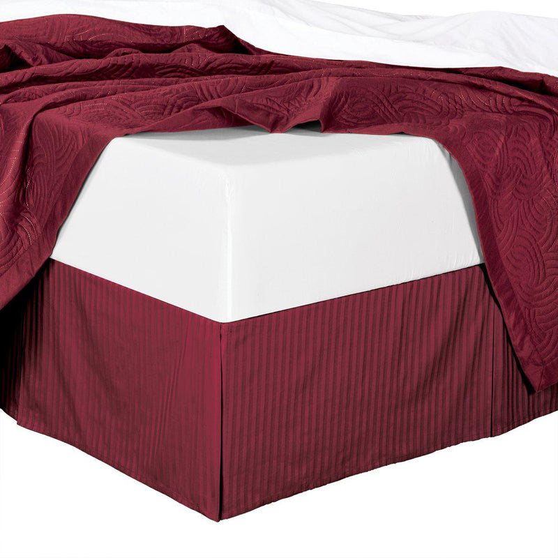 Stripe Bed Skirt 100% Microfiber-Royal Hotel Bedding-Full-Burgundy-Egyptian Linens