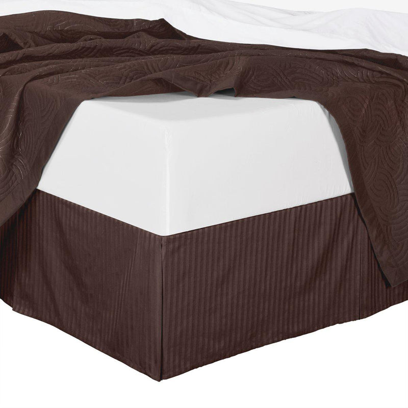 Stripe Bed Skirt 100% Microfiber-Royal Hotel Bedding-Full-Chocolate-Egyptian Linens