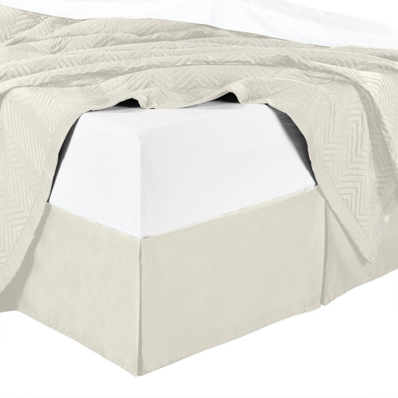 Split Corner 100% Cotton Solid 300TC Bed Skirts-Royal Tradition-Twin XL-Ivory-Egyptian Linens