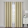 "Ava Blackout Weave Curtain Panels With Tie Backs Pair (Set Of 2)-Egyptian Linens-54"" x 63"" Pair-Beige-Egyptian Linens"