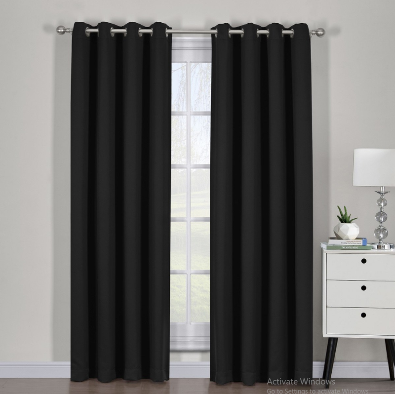 "Ava Blackout Weave Curtain Panels With Tie Backs Pair (Set Of 2)-Egyptian Linens-54"" x 63"" Pair-Black-Egyptian Linens"