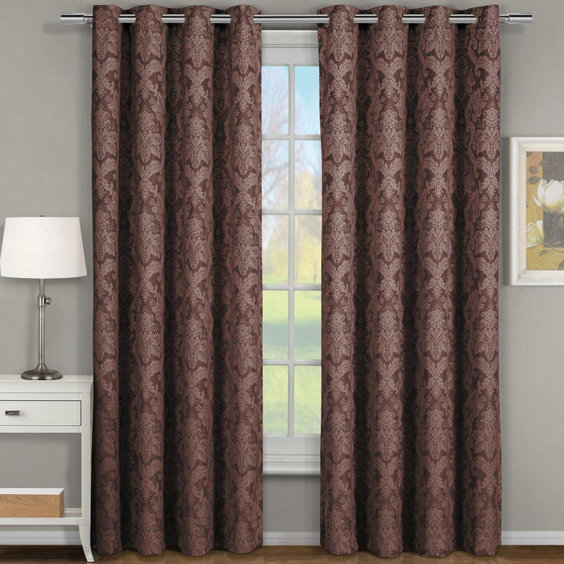 "Blair Damask Floral Curtains Jacquard Drapes Grommet Top Panels (Set of 2)-Royal Tradition-54 x 63"" Pair-Chocolate-Egyptian Linens"
