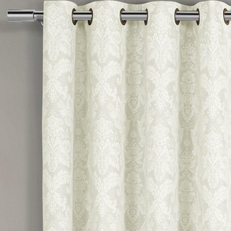 Blair Damask Floral Curtains Jacquard Drapes Grommet Top Panels (Set of 2)-Royal Tradition-Egyptian Linens