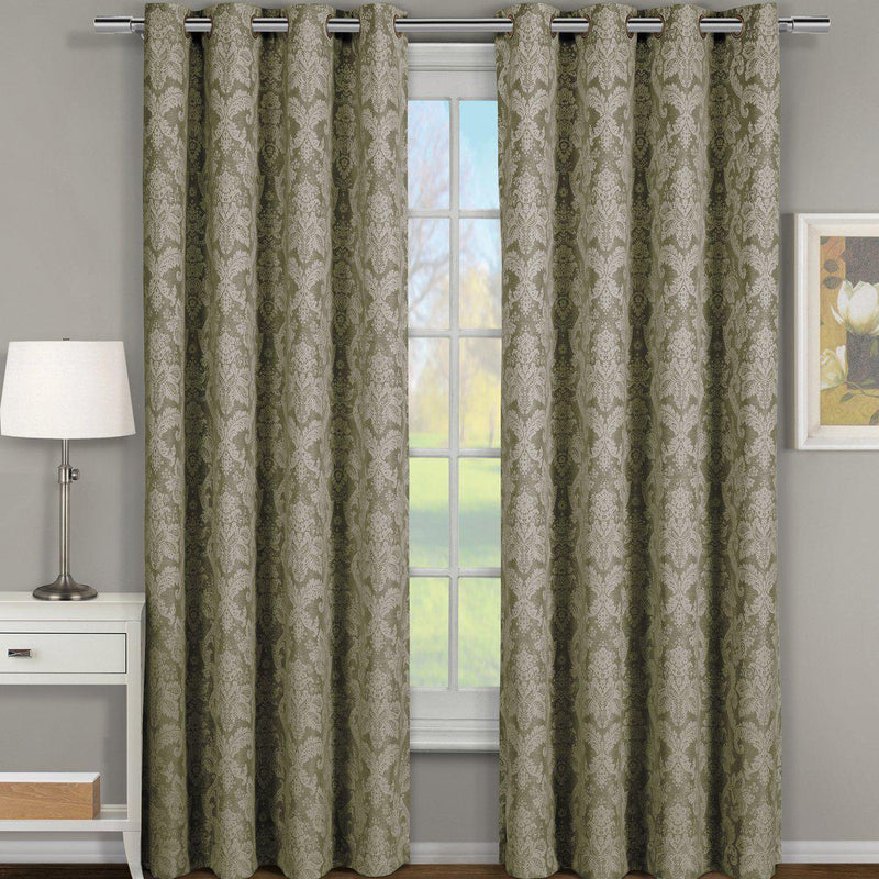 "Blair Damask Floral Curtains Jacquard Drapes Grommet Top Panels (Set of 2)-Royal Tradition-54 x 120"" Pair-Sage-Egyptian Linens"