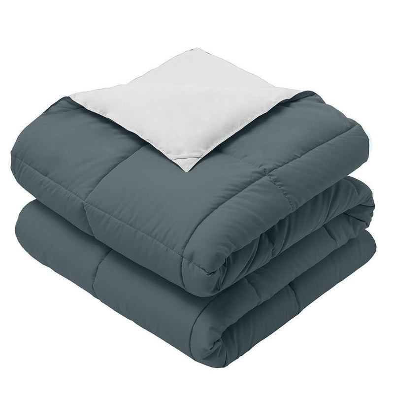 Reversible Plush Down Alternative Blanket-Royal Hotel Bedding-Twin/Twin XL-Navy/Gray-Egyptian Linens