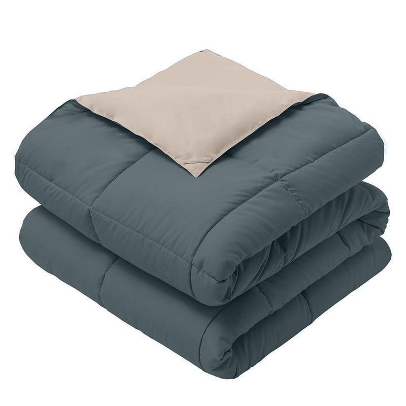 Reversible Plush Down Alternative Blanket-Royal Hotel Bedding-Twin/Twin XL-Navy/Taupe-Egyptian Linens
