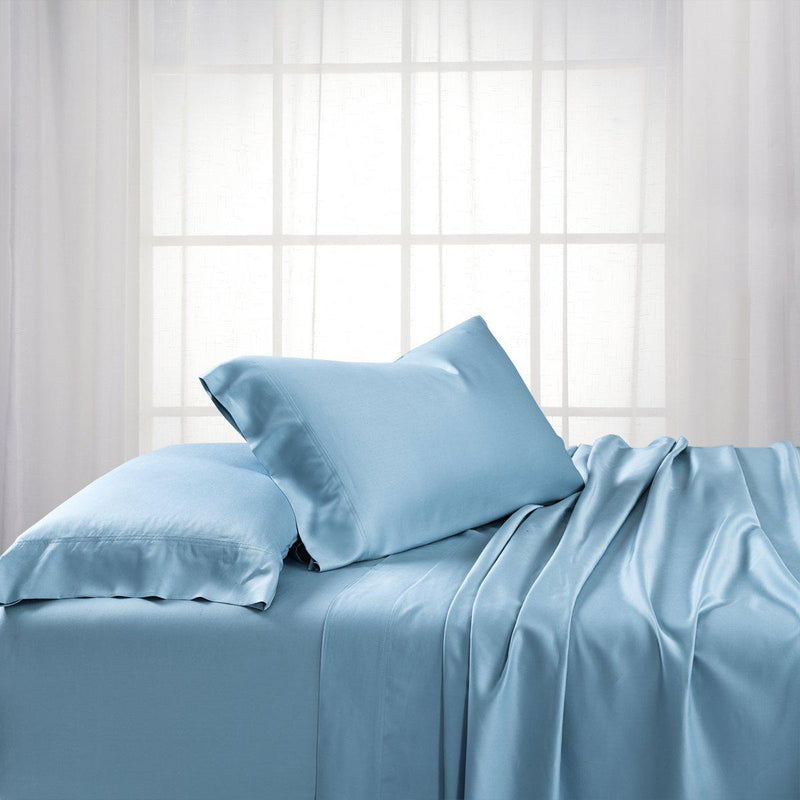 Split King Dual King Adjustable Bed Sheets Set - Bamboo Cotton (Hybrid)-Royal Tradition-Blue-Egyptian Linens