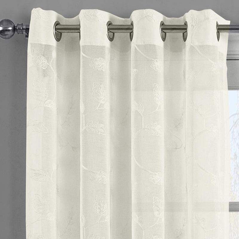 Brook Embroidered Grommet Top Sheer Window Curtain Pair (Set of 2 )-Royal Tradition-Egyptian Linens
