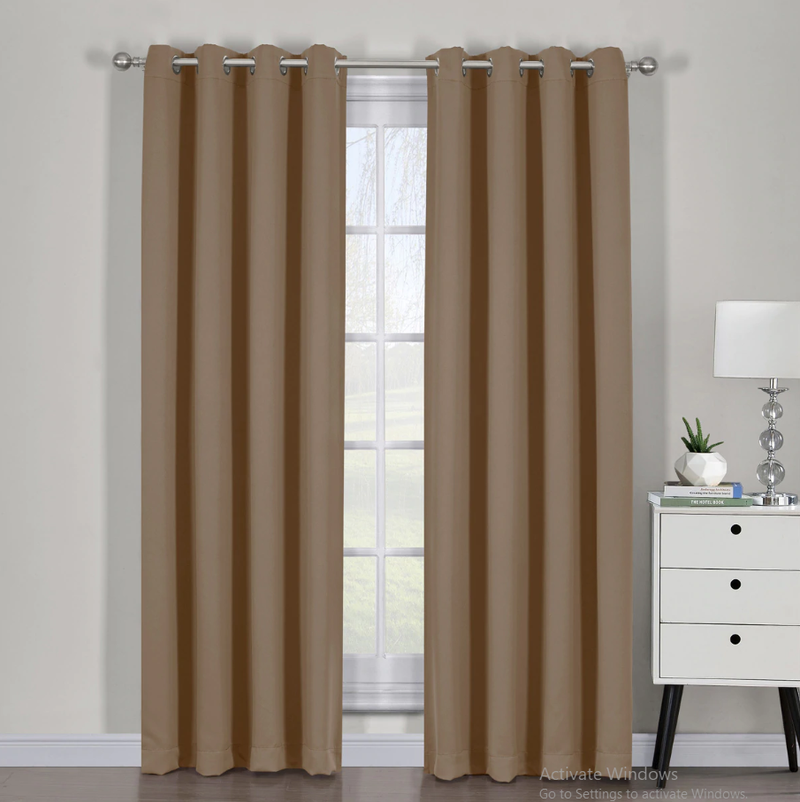 "Ava Blackout Weave Curtain Panels With Tie Backs Pair (Set Of 2)-Egyptian Linens-54"" x 63"" Pair-Cappuccino-Egyptian Linens"