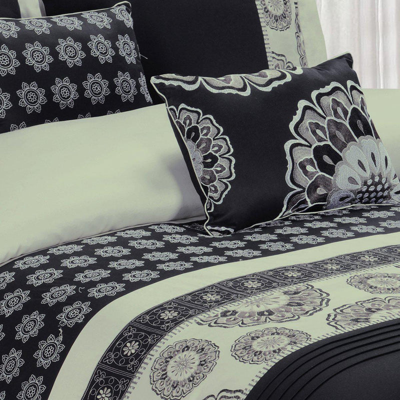 5 Piece Black Chelsea 100% Cotton Duvet Cover Set-Royal Tradition-Egyptian Linens