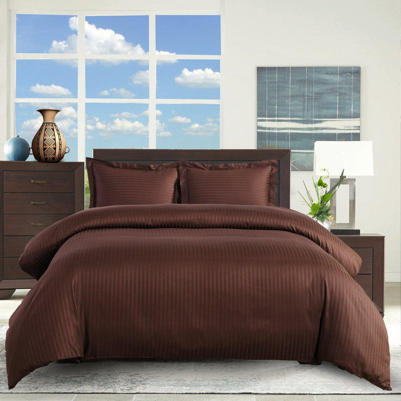 Duvet Cover Set Damask Stripe 300-Thread-Count
