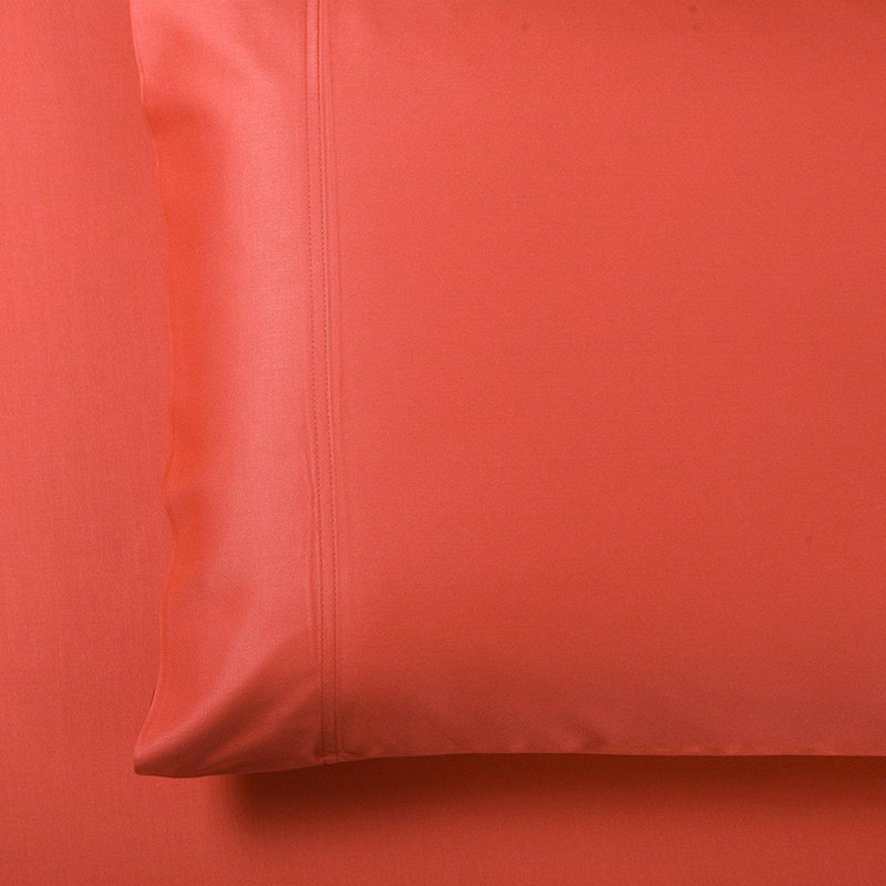 Silky Cotton, Bamboo-Cotton Blended 2 Pillowcases (Hybrid)-Royal Tradition-Standard Pillowcases Pair-Coral-Egyptian Linens