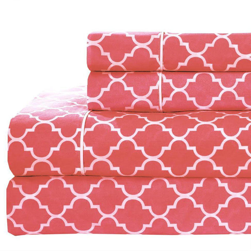 Meridian Percale Sheet Set-Royal Tradition-Twin XL-Coral & White-Egyptian Linens