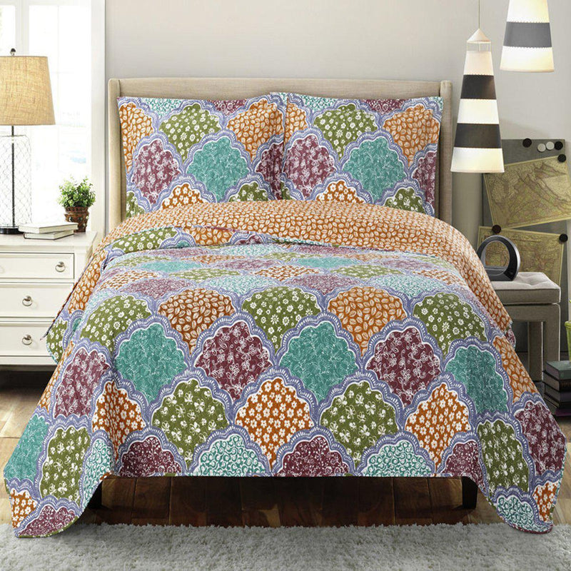 Dahlia Reversible Floral Pattern Bed Quilt Sets Hypoallergenic 100% Microfiber Set-Royal Tradition-Twin/Twin XL-Egyptian Linens