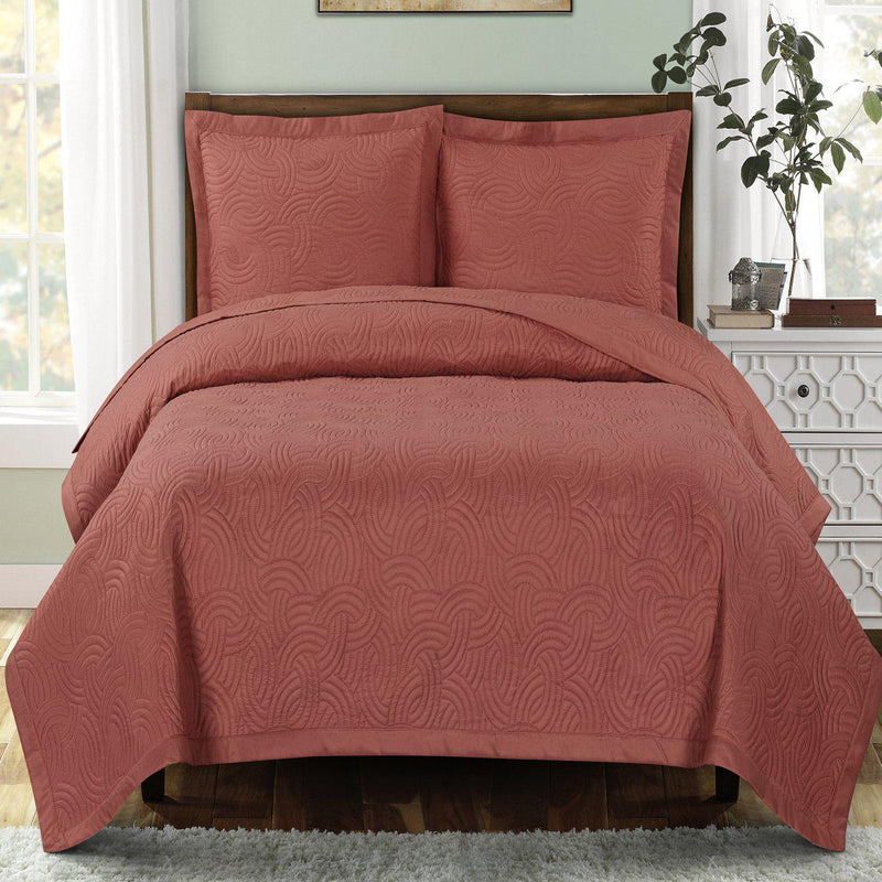 Emerson Ornamental Design Solid Quilted Coverlet Sets-Royal Tradition-Full/Queen-Coral-Egyptian Linens
