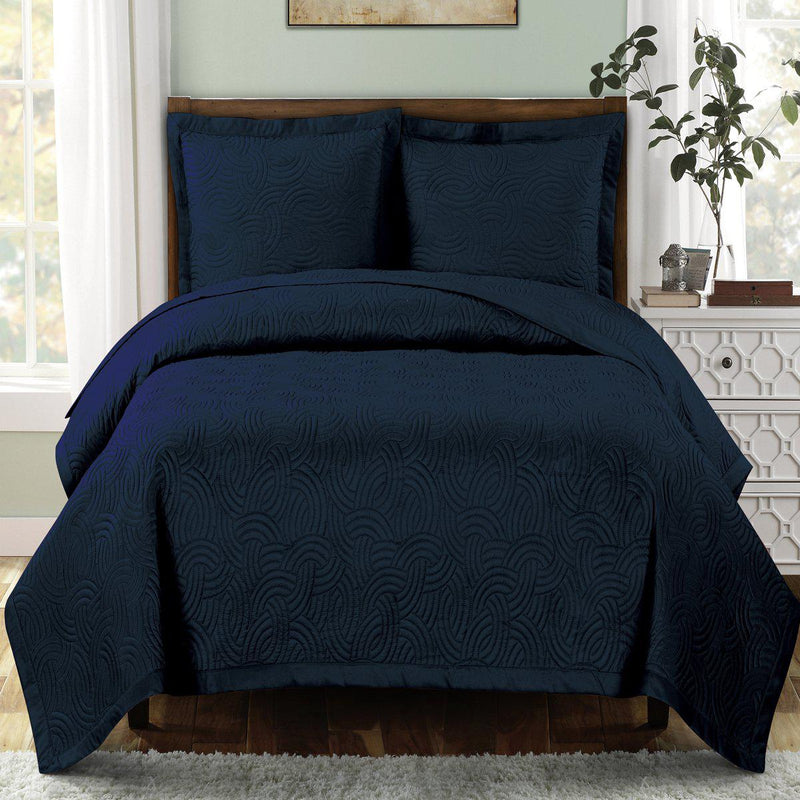 Emerson Ornamental Design Solid Quilted Coverlet Sets-Royal Tradition-Full/Queen-Navy-Egyptian Linens