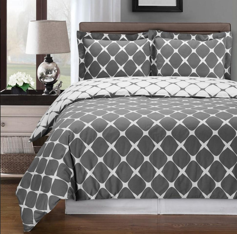 Duvet Cover Set - Bloomingdale-Royal Tradition-Twin/TwinXL-Gray/White-Egyptian Linens