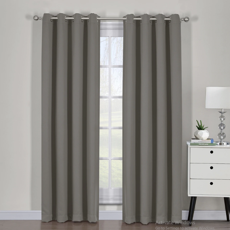 "Ava Blackout Weave Curtain Panels With Tie Backs Pair (Set Of 2)-Egyptian Linens-54"" x 63"" Pair-Gray-Egyptian Linens"