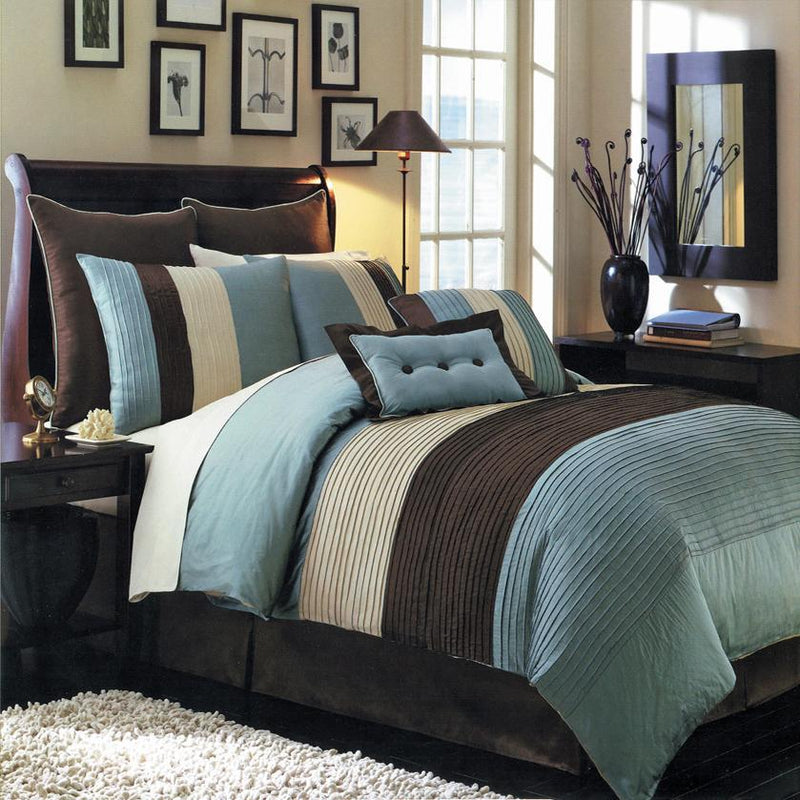 Hudson 6-8 Piece Blue Complete Comforter Set-Royal Tradition-Twin XL-Egyptian Linens