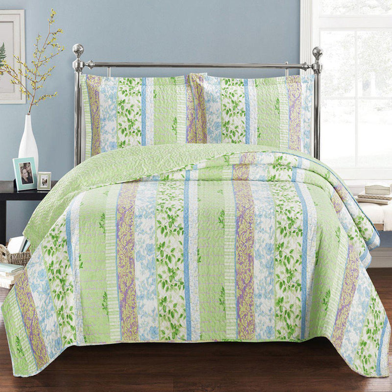 Modern Hayley Bright Spring Forest Design Quilt Set by Royal Hotel-Royal Hotel Bedding-Twin/Twin XL-Egyptian Linens